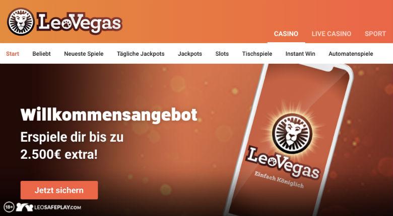 LeoVegas Casino: 30 Freispiele gratis bei Registrierung